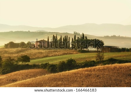 Early morning on countryside, San Quirico d���´Orcia, Tuscany, Italy  - stock photo
