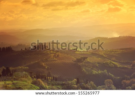Early morning on countryside, Val d���´Orcia, Tuscany, Italy - stock photo