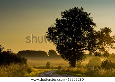Early Morning Photograph of the Countryside - stock photo