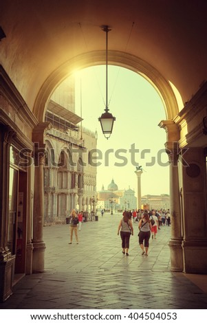 early morning, San Marco square in Venice, Italy - stock photo