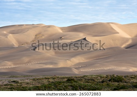 Early morning scene at Great Sand Dunes National Park, Colorado. - stock photo