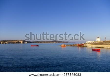 Early morning scenery in Ano Koufonisi island, Cyclades, Greece - stock photo