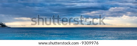 Early morning seascape. Wide panorama. - stock photo