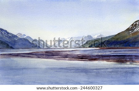Early Morning Shadows Turnagain Arm, Watercolor painting of distant, snow covered, mountains with early morning sunlight casting shadows onto water in a bay.. - stock photo