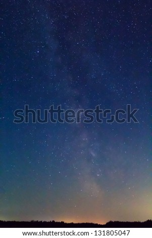 early morning starry sky - stock photo