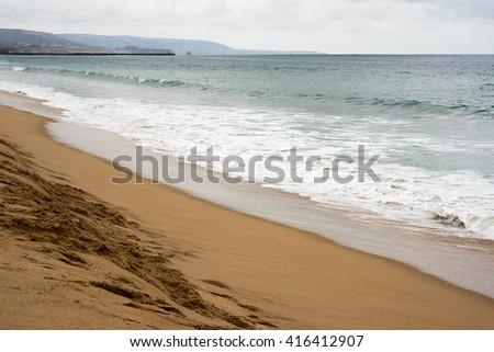 Early morning stunning isolated beach scene  - stock photo