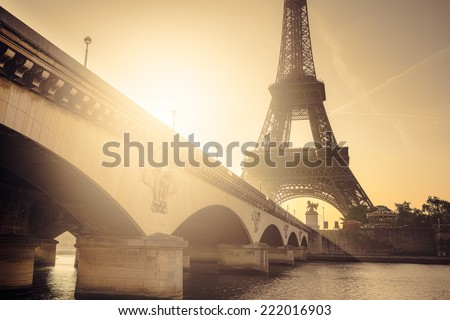 Early morning sunrise at the Eiffel Tower, Paris, France - stock photo