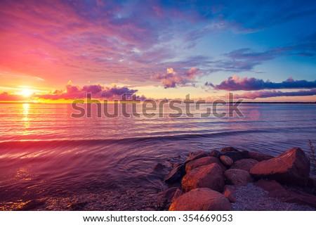 Early morning , sunrise over sea - stock photo
