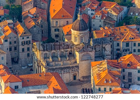Early morning sunrise - panorama with Dubrovnik old city cathedral. Location Croatia - Europe. - stock photo