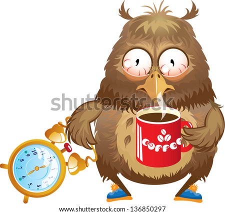 Early morning time - funny owl with cup of coffee and alarm clock in its hands. Raster version - stock photo