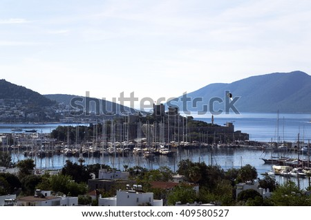 Early morning view from famous tourism city Bodrum Turkey - stock photo