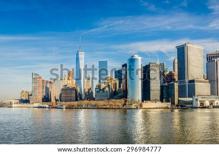 Early Morning View of Downtown Manhattan in Winter - stock photo