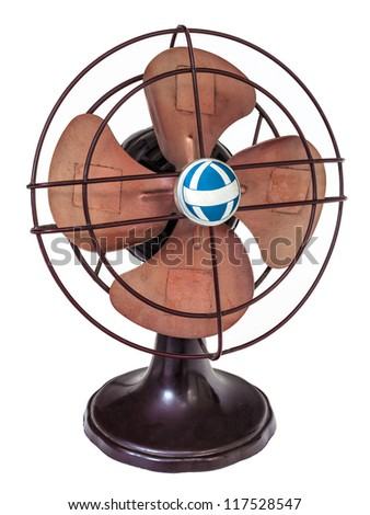 Early nineteenth century brown electric fan isolated on a white background - stock photo