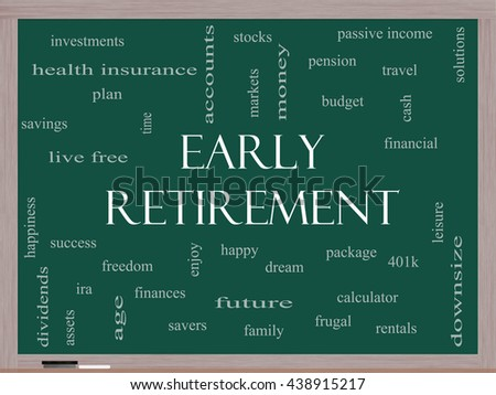 Early Retirement Word Cloud Concept on a Blackboard with great terms such as investments, budget, downsize and more. - stock photo