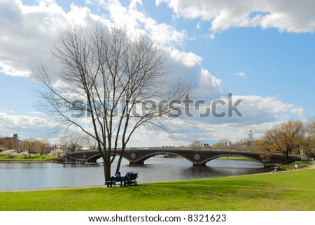 Early spring in Cambridge, Massachusetts - stock photo