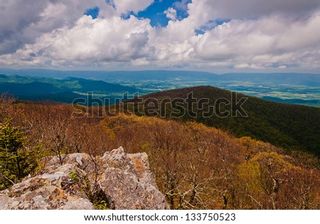 Early spring view from Hawksbill Summit, Shenandoah National Park, Virginia. - stock photo