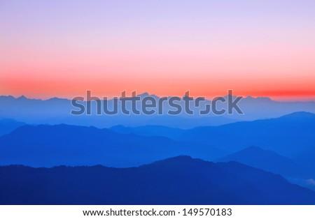 early sunrise over himalaya - stock photo