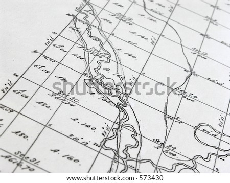 Early Survey map of homestead area - stock photo
