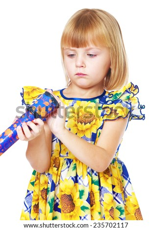 Early years, knowledge of the world, learning concept.little girl with a telescope.Isolated on white background. - stock photo