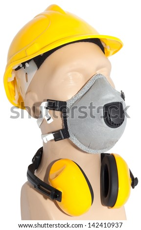 earmuff, Dust Respirator and helmet on mannequin (with clipping paths) - stock photo
