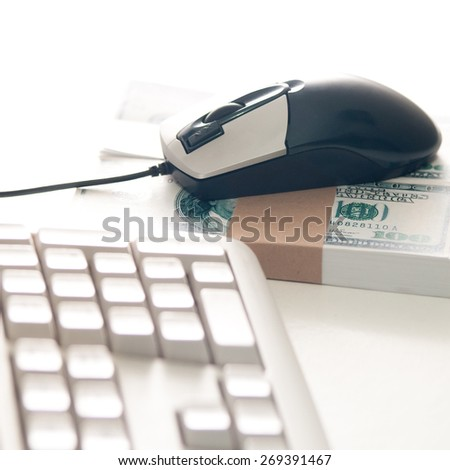 Earning money with computer - stock photo