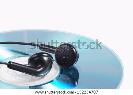 earphone and CD - stock photo