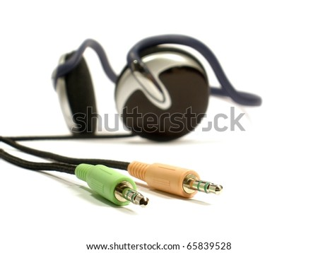 earphones and the tip for connection on the white isolate background - stock photo