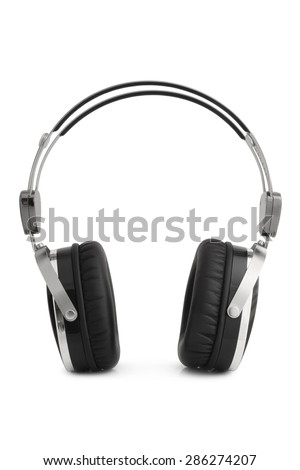 Earphones on white background - stock photo