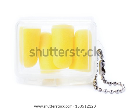 Earplugs in a box for travellers. Ear noise control protection from  noisy neighborhoods on white background - stock photo
