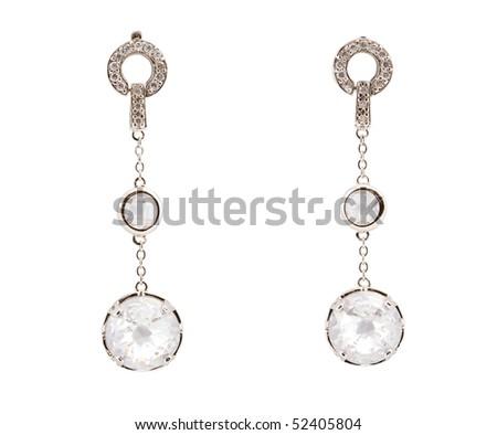 earring with diamond - stock photo