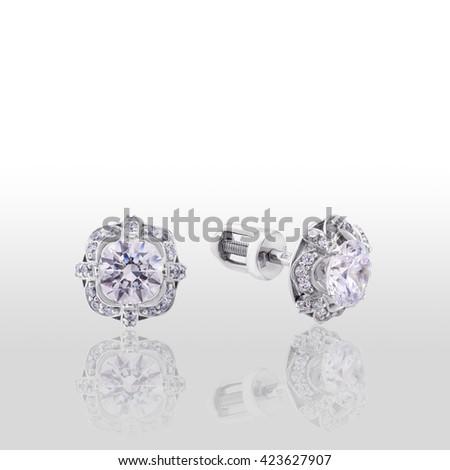 earrings, gold, white - stock photo