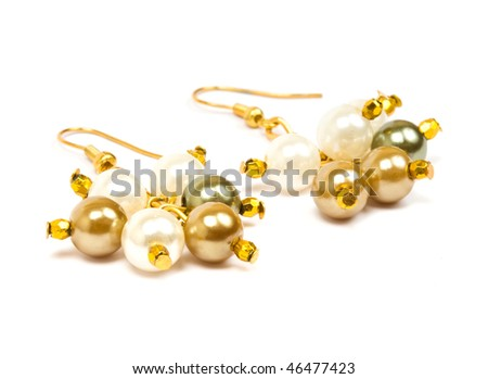 earrings isolated on the white background - stock photo