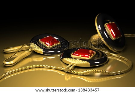 earrings ring and medallion set made out of tantalum and gold - stock photo