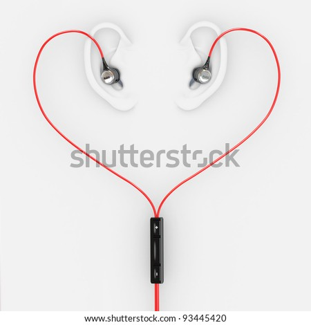 Ears and earphones  in the form of heart. 3d - stock photo