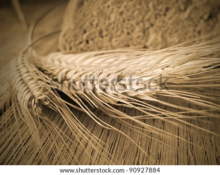 Ears of wheat and bread. Shallow DOF - stock photo