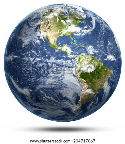 Earth - America white isolated. Earth globe model, maps courtesy of NASA - stock photo
