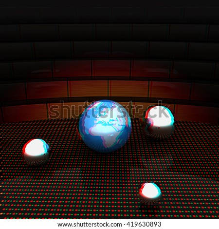 Earth and ball on light path to infinity. 3d render . 3D illustration. Anaglyph. View with red/cyan glasses to see in 3D. - stock photo