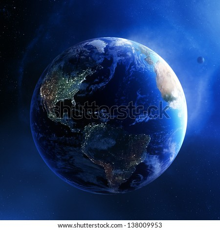 Earth and galaxy with city lights of America - 3d render (Elements of this  image furnished by NASA) - stock photo