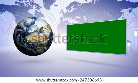 Earth and Green Monitor, Elements of this image furnished by NASA - stock photo