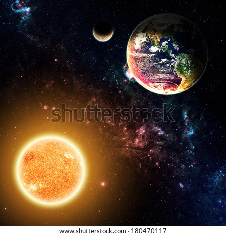 Earth and Moon Above the Sun - Elements of this Image Furnished by NASA - stock photo