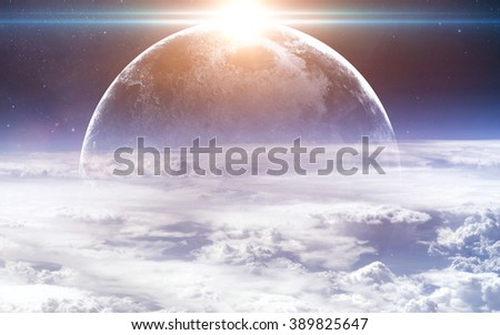 Earth and moon from space. Elements of this image furnished by NASA - stock photo