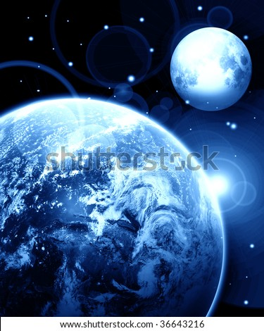 Earth and moon in outer space with stars - stock photo