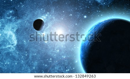 Earth and moon in space - stock photo