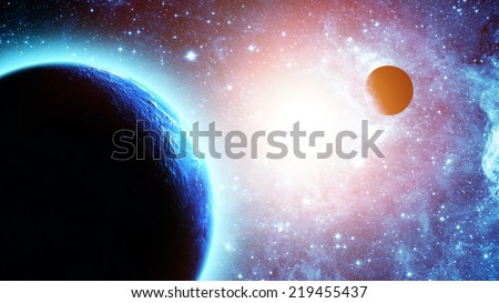 Earth and moon in space Elements of this image furnished by NASA - stock photo