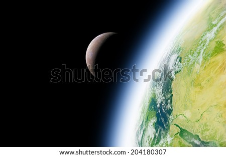 Earth and Moon on a dark background without stars. Elements of this image furnished by NASA. - stock photo