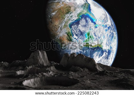 Earth and moon View from the moon orbit and rotating around the planet earth (Elements of this image furnished by NASA)  - stock photo