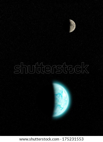 Earth and Moon with fine background stars. Earth furnished by NASA/JPL. - stock photo