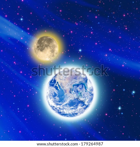 Earth and Moon with the Milky Way in the background. Planet furnished by NASA/JPL. Moon and stars are my astro-photography work. - stock photo
