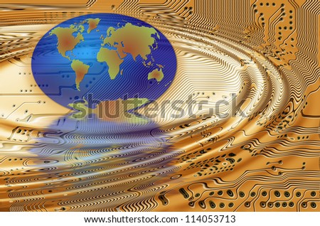 Earth and printed circuit - motherboard - technology abstract - stock photo