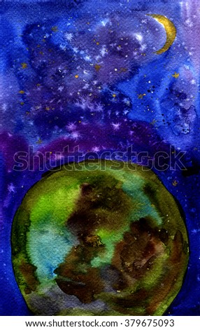 Earth and space. Watercolor illustration. Background - stock photo